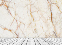 Backdrop abstract marble wall and wood slabs arranged in perspective texture background.. Royalty Free Stock Images