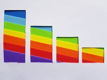 Decreasing graphic with foamy in rainbow colors and white background. Backdrop for ads related with multicolors, creative design, diversity and lgbt community stock image