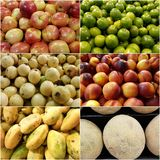 Collage with variety of fruits, fresh and healthy food, background and texture. Backdrop for advertisements of fruit market, food vegetarian, ingredient for royalty free stock photos