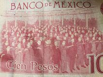 Approach to mexican banknote of 100 pesos, background and texture. Backdrop for announcements of trading and exchange, bank and commerce, price of buy and sell stock image