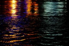Blurred colorful reflection lights on river surface with water waves royalty free stock photo