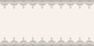 Backdrop with borders in calligraphic retro style in brown color isolated on beige background. Royalty Free Stock Images