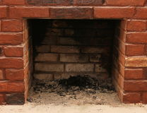Backdrop of a brick fireplace wall stock images