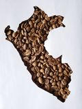 Map of Peru with roasted coffee beans and white background. Backdrop for cafeteria and coffee products, agriculture and harvest, seeds with flavor and aroma stock photos