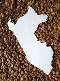 Map of Peru in white and background with roasted coffee beans. Backdrop for cafeteria and coffee products, agriculture and harvest, seeds with flavor and aroma stock image