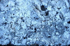 The backdrop of charred white charcoal. Extinguished the fire Royalty Free Stock Photo