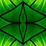 Approaching the stained glass in green colors, with symmetry and reflection effect, background and texture. Backdrop for color ads, creative pattern and stock photo