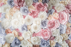 Backdrop of colorful paper roses Royalty Free Stock Image