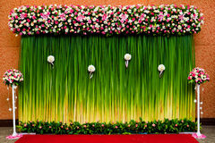 Backdrop  flowers for wedding ceremony Stock Photo