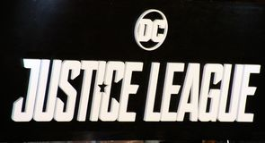 Backdrop for Justice League movie. Premiere Royalty Free Stock Photography