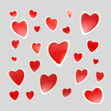 Backdrop made of glossy hearts isolated. Backdrop made of set of glossy red and white hearts isolated on grey Stock Illustration