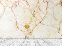 Backdrop marble wall and wood slabs arranged in perspective texture background. Stock Photography