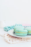 Backdrop with minty macaroon on light background. Mint macaroon with copy space on light background Stock Images