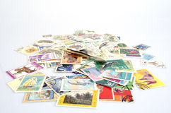Backdrop of old postage stamps Royalty Free Stock Images