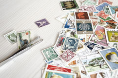 Backdrop of old postage stamps Stock Photography