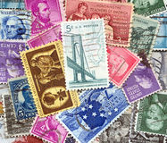 Backdrop of old U.S. postage stamps Stock Photography