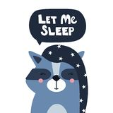 Backdrop with happy raccoon and text. Let me sleep vector illustration