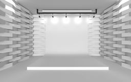 Backdrop in room with abstract serration wall. Stage white backdrop in room with abstract serration wall royalty free illustration