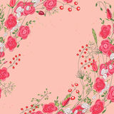 Backdrop with roses and herbs. Red and pink color. Royalty Free Stock Images