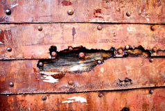 Backdrop of rusty old metallic wall Royalty Free Stock Photo