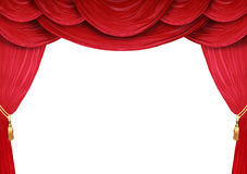 Backdrop of a theater. Red curtain of a classical theater Stock Photography