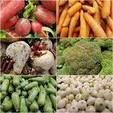 Collage with a variety of vegetables, fresh and healthy food, background and texture. Backdrop to announce a vegetable market, vegetarian food for a healthy food stock photo