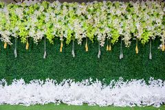 Backdrop for wedding. Flower backdrop for wedding party Royalty Free Stock Photography