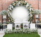 Backdrop wedding romantic flower decoration beautiful flowers bouqet white and yellow stock images