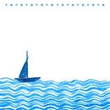 Backdround nautico dell'acquerello con la nave e le onde disegnate a mano Struttura artistica di vettore con spazio per testo illustrazione di stock