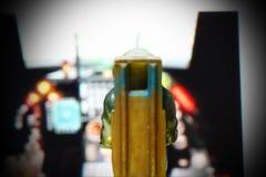 Backside of miniature model figure of airforce pilot scene. Royalty Free Stock Image