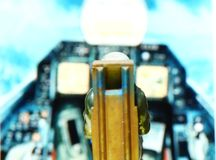 Backside of miniature model figure of airforce pilot scene. Stock Photography
