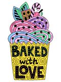 Backed with love. Lettering inside of a cupcake stock illustration