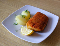 Backed salmon fish. With potatoes and lemon royalty free stock photos