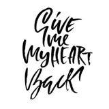 backen ger hjärta mig som är min Handdrawn kalligrafi för valentindag Färgpulverillustration Modernt torka borstebokstäver vektor stock illustrationer
