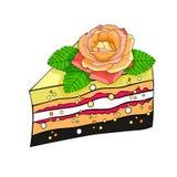 Backen Sie ein Stück mit einer Rosenblume zusammen Auch im corel abgehobenen Betrag Stockbilder