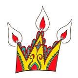 Backen Sie flache Ikone in Form einer Krone - alles Gute zum Geburtstag zusammen Stockfoto