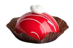 Backen Sie, geschmackvolle, süße, rote, schöne, weiße Creme zusammen Lizenzfreies Stockbild