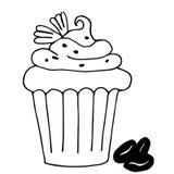 Backen Sie mit Kaffee, der kleine Kuchen zusammen, der in den Entwurf gezeichnet wird, der auf Weiß lokalisiert wird Stockfotografie
