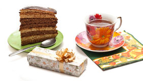 Backen Sie mit Tee oder Kaffee zusammen stockbild
