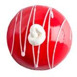 Backen Sie, Runde, Rot, geschmackvolles, süßes, rundes, schönes, weißes backgrou zusammen Stockfotos
