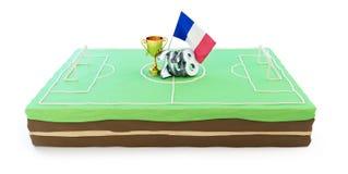 Backen Sie zu Ehren des Sieges im Fußball in Frankreich 2018 auf einer weißen Illustration des Hintergrundes 3D, Wiedergabe 3D zu Lizenzfreies Stockbild