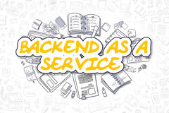 Backend As A Service - Doodle Yellow Word. Business Concept. Stock Photo