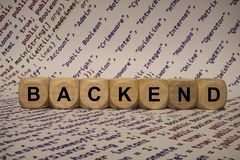Backend - cube with letters and words from the computer, software, internet categories, wooden cubes Royalty Free Stock Photos