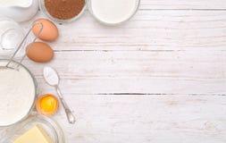 Backende Kuchenbestandteile Hintergrund Lizenzfreies Stockfoto