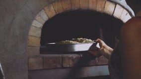 Backender Apfelstrudel des Frauenchefs Weibliche Hände setzten Behälter mit Gebäck in Ziegelstein-Ofen stock video