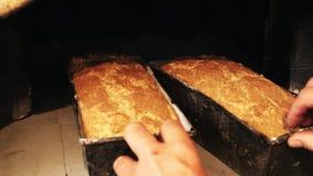 Backendes Brot im traditionellen Ziegelstein-Ofen stock video