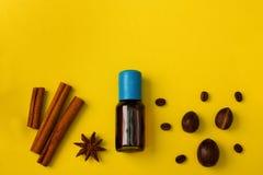 Backenhintergrund würzt Zimtanismuskatnuss-Kaffeebohnen vani lizenzfreie stockfotografie
