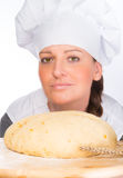 Backer with bread dough Stock Photo