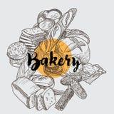Backery ajustou-se com tipos diferentes de pão e de rotulação fotos de stock royalty free