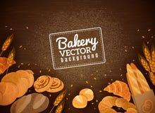 Backery Fresh Bread Dark Wood Background Stock Images